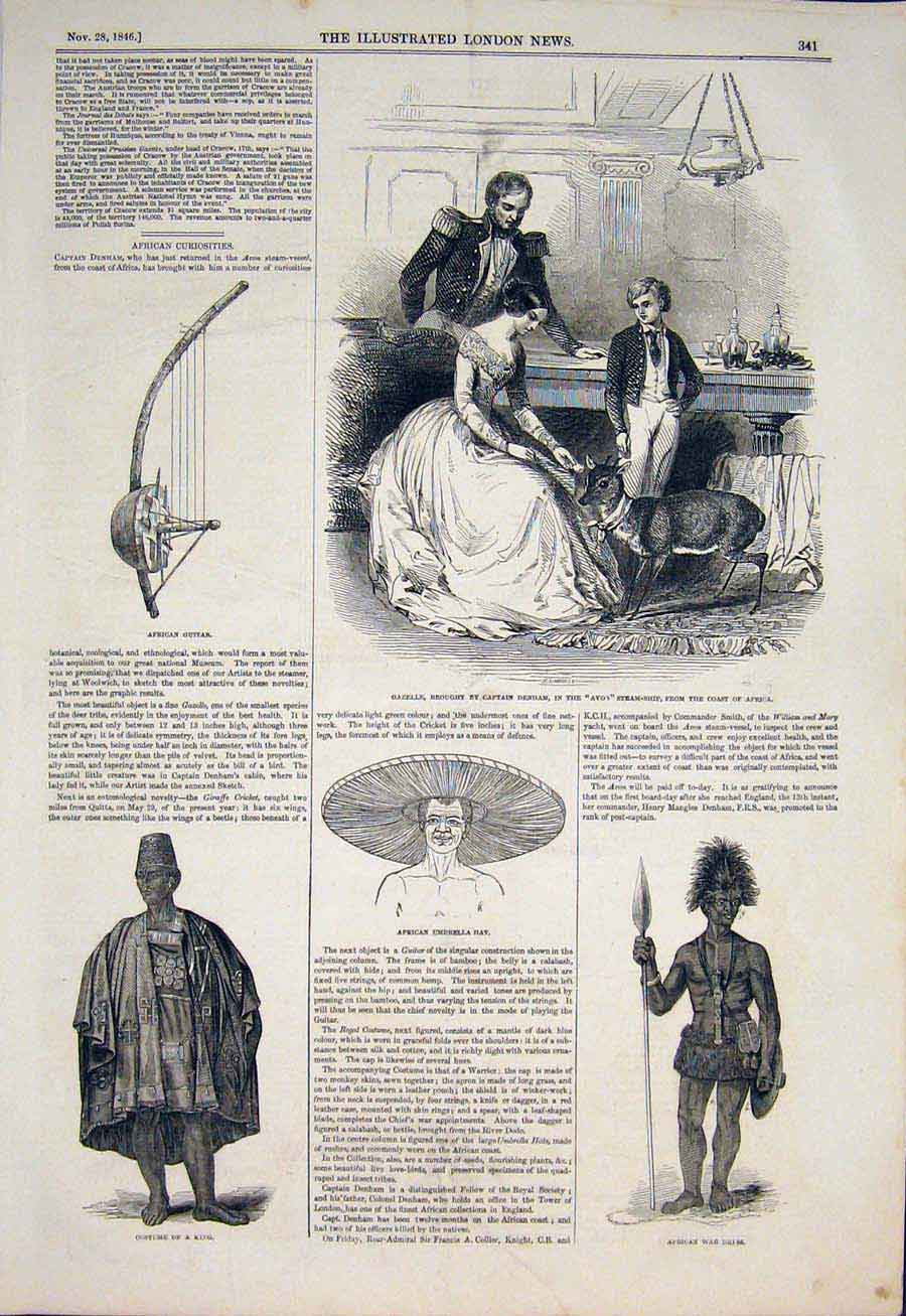 Print Gazelle Denham Avon Ship Africa Guitar Hat War 1846 41Maa1 Old Original