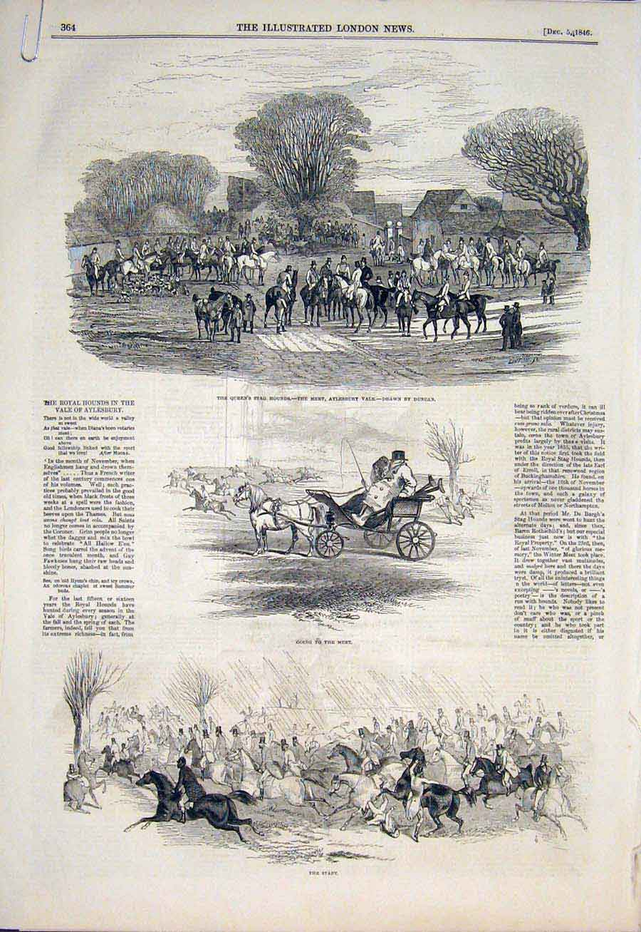 Print Hunt Stag Royal Hounds Aylesbury Duncan Hunting 1846 64Amaa1 Old Original