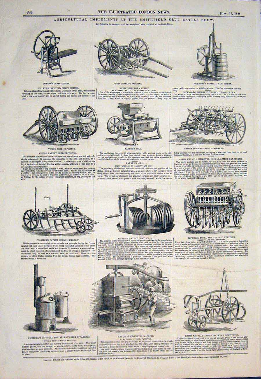 Print Smithfield Club Cattle Show Agricultural Implements 84Maa1 Old Original