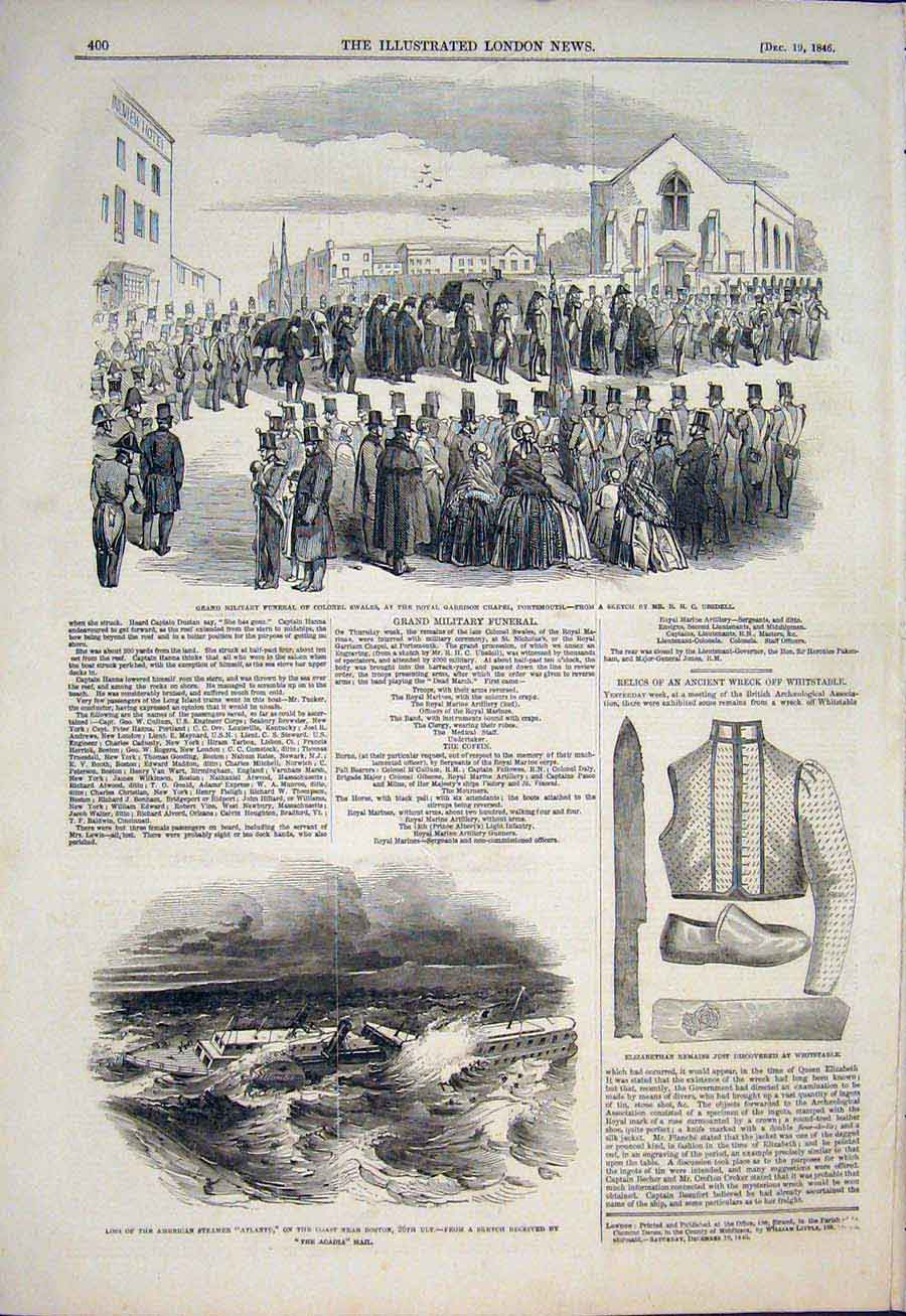 Print Swales Funeral Military Portsmouth Atlantic Ship Wreck 00Maa1 Old Original