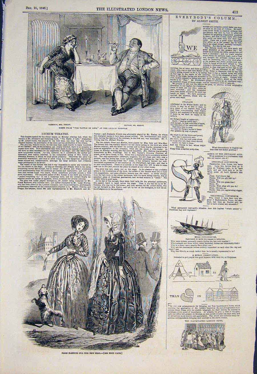 Print Paris Fashion Lyceum Theatre Puzzles 1846 13Maa1 Old Original