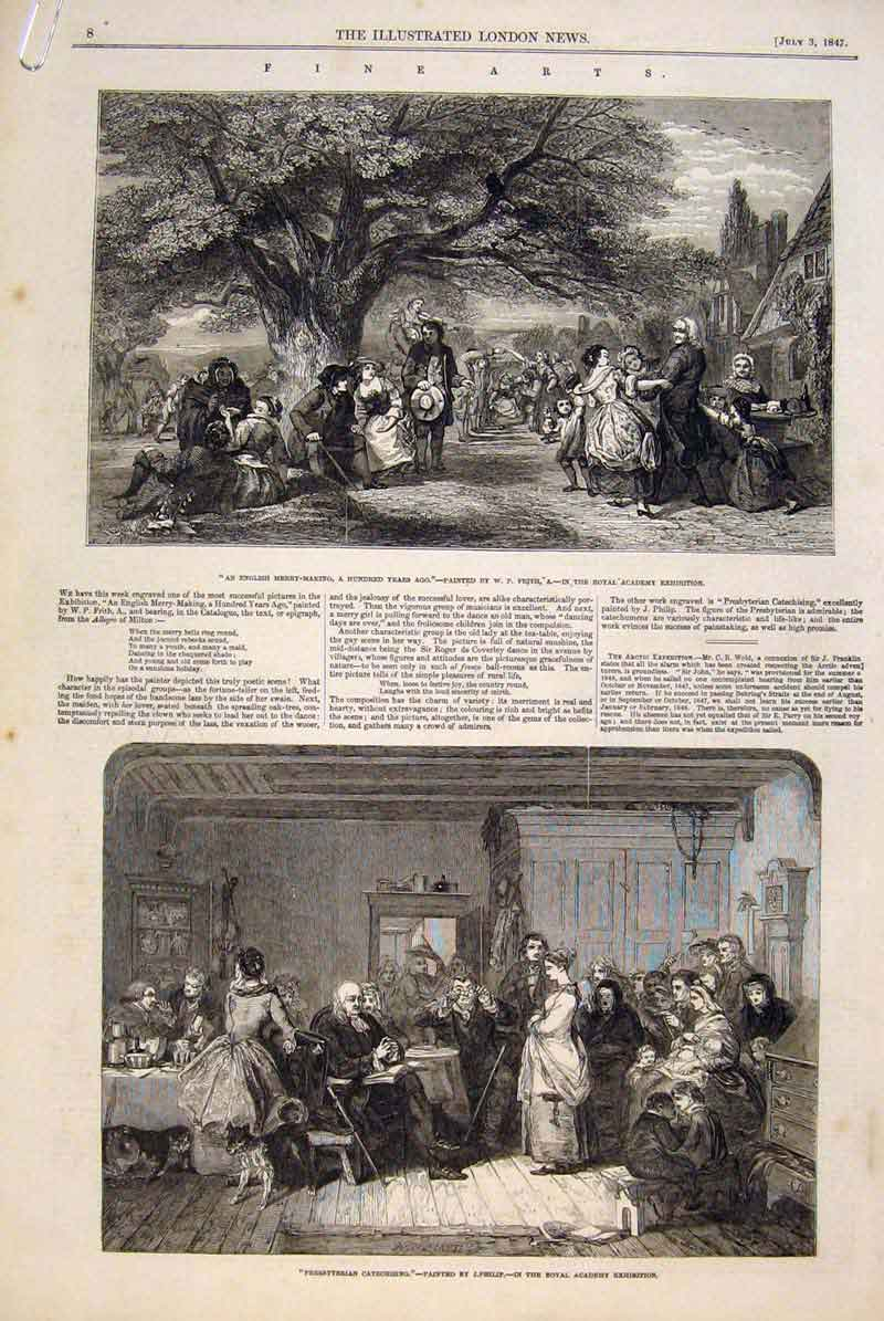 Print Royal Academy Exhibition Fine Art 1847 Paintings 08Amaa1 Old Original
