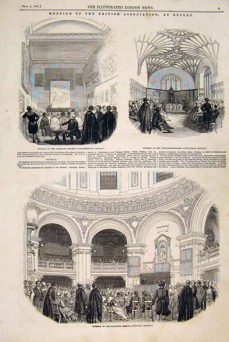 Print Randolph Gallery Radcliffe Library Convocation 1847 09Maa1 Old Original
