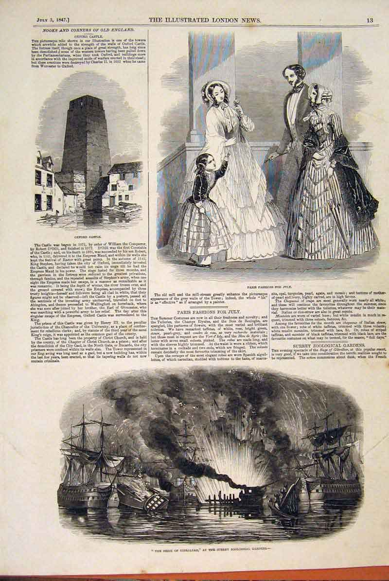 Print Oxford Castle Paris Fashion Gibraltar Seige 1847 13Maa1 Old Original