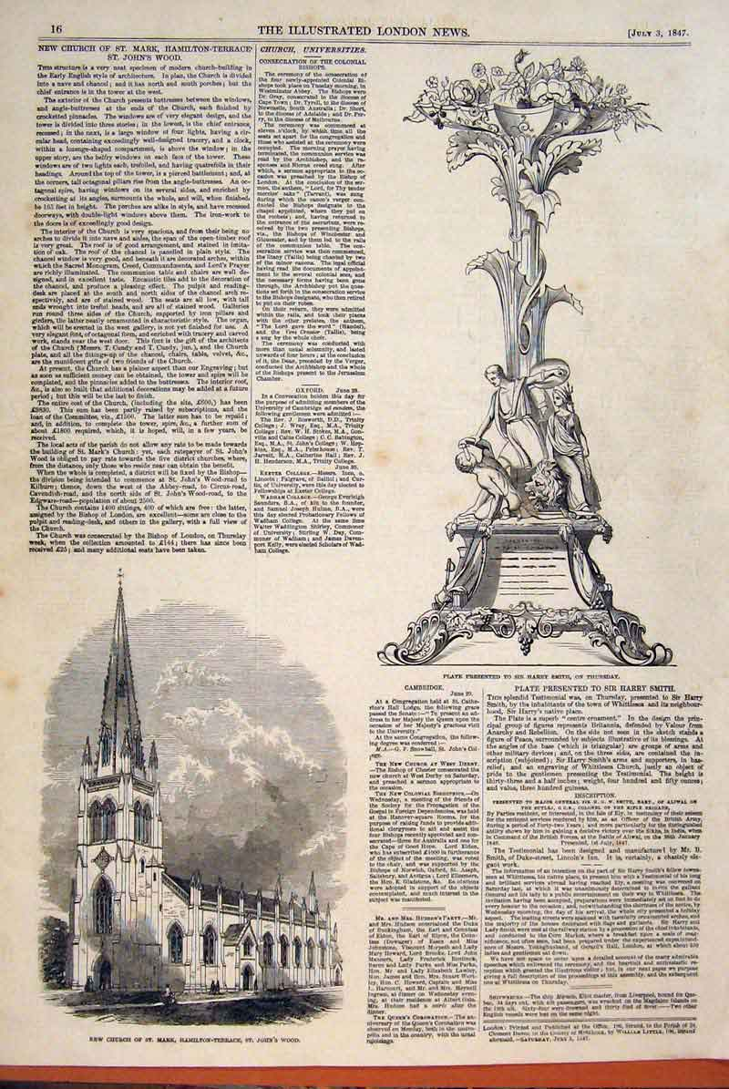 Print Smith Harry Sir St Mark St Johns Wood Church 1847 16Maa1 Old Original