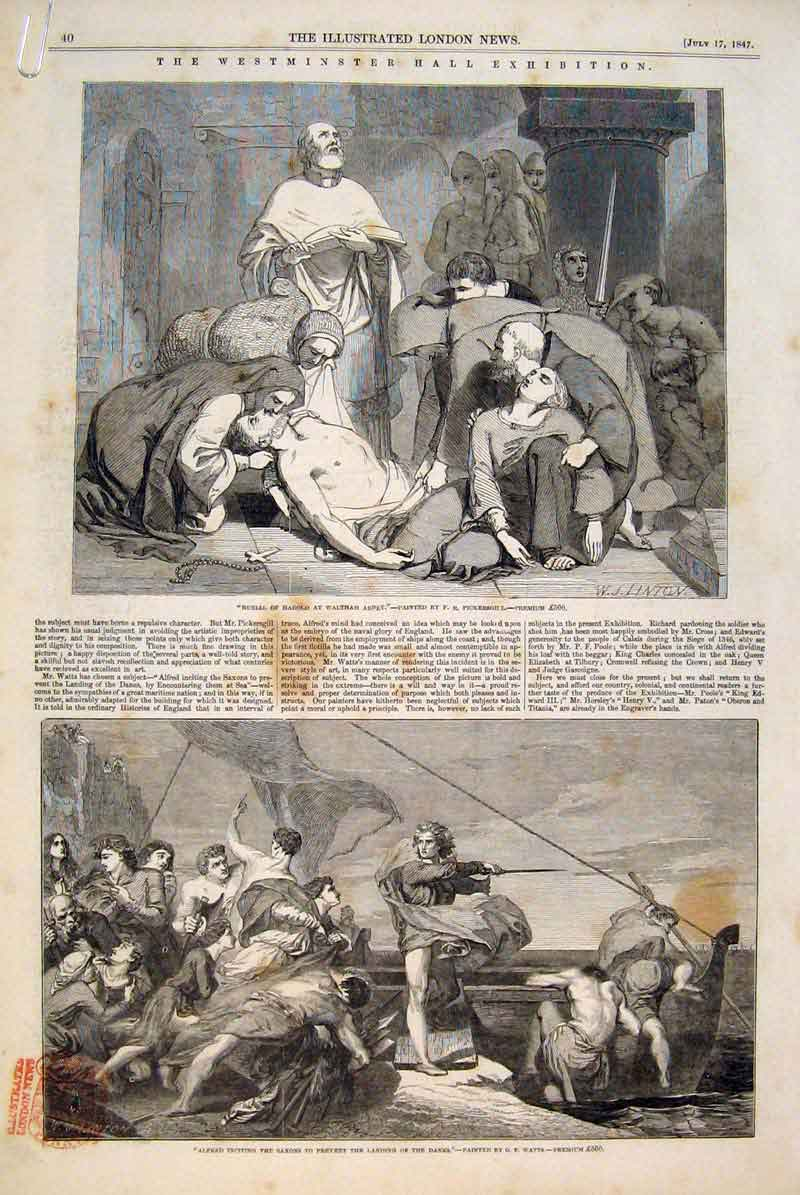 Print Westminster Hall Exhibition Fine Art 1847 Artists 40Amaa1 Old Original