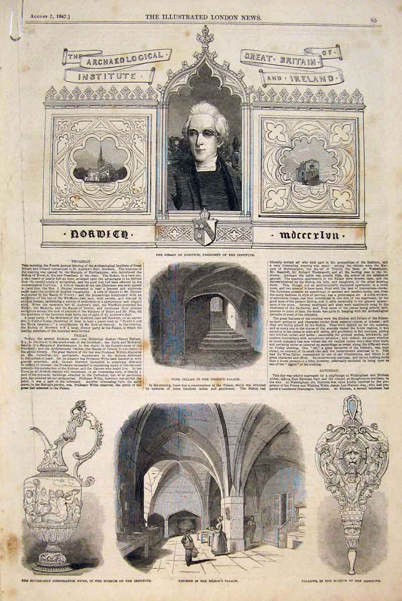 Print Bishop Norwich Institute Archaeological Castle Museum 85Amaa1 Old Original