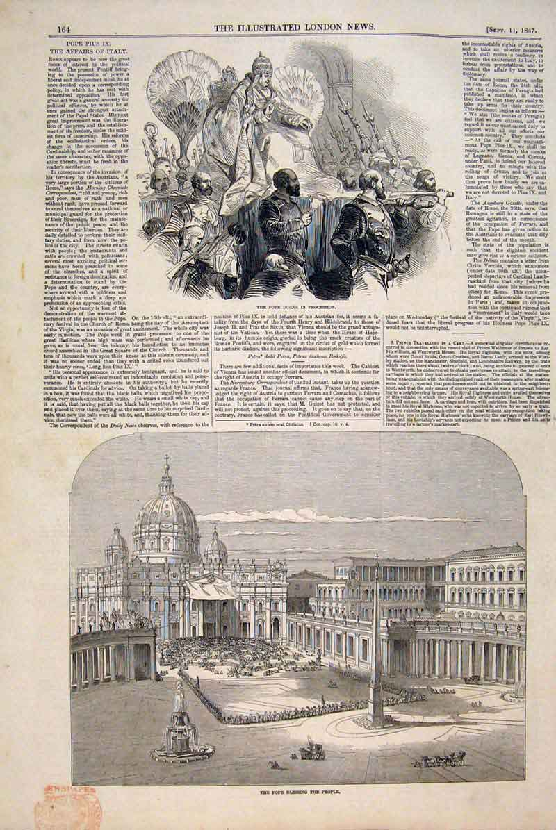 Print Pope Procession Blessing Rome Italy Vatican 1847 64Maa1 Old Original