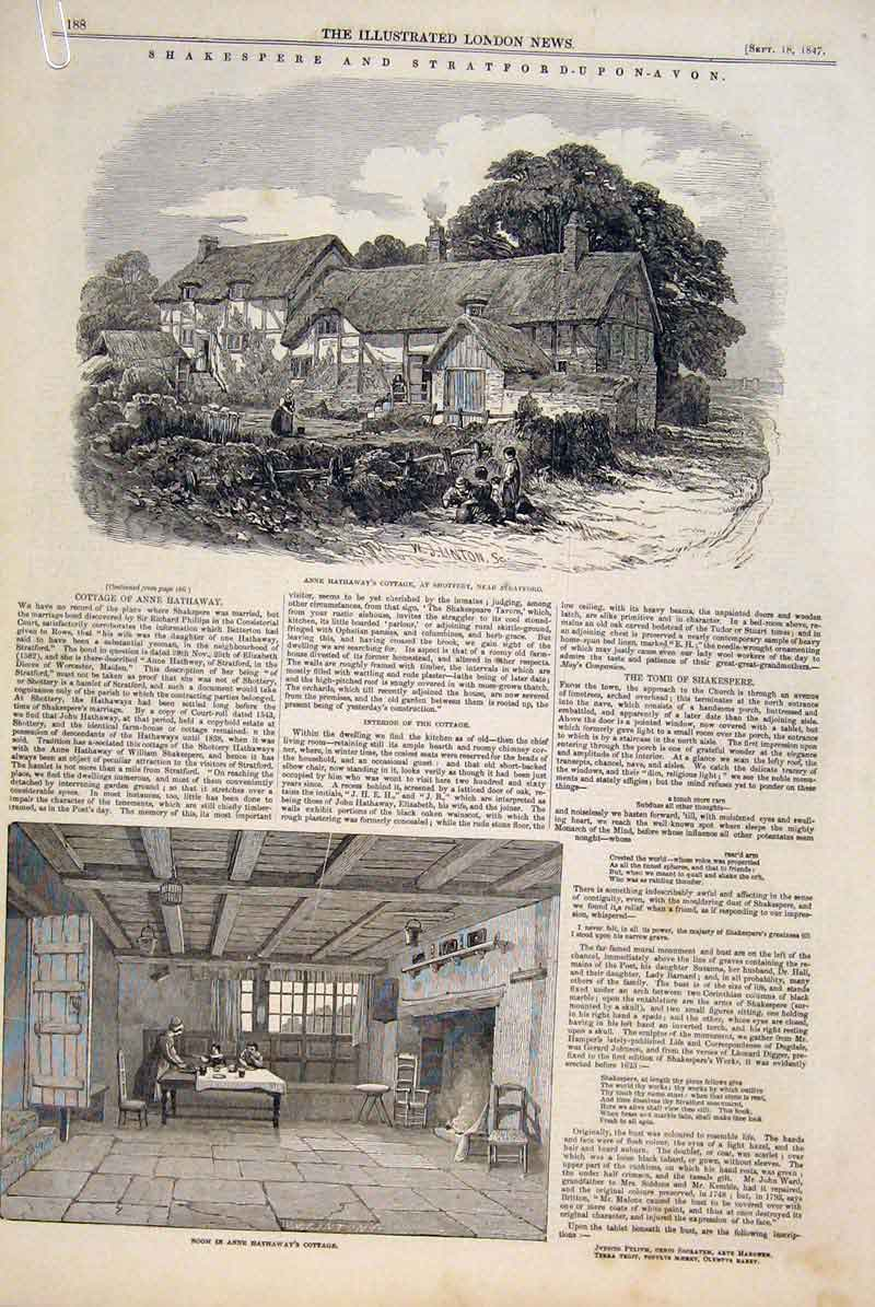Print Shakespeare Stratford Hathaway Cottage Lucy Church 1847 88Amaa1 Old Original
