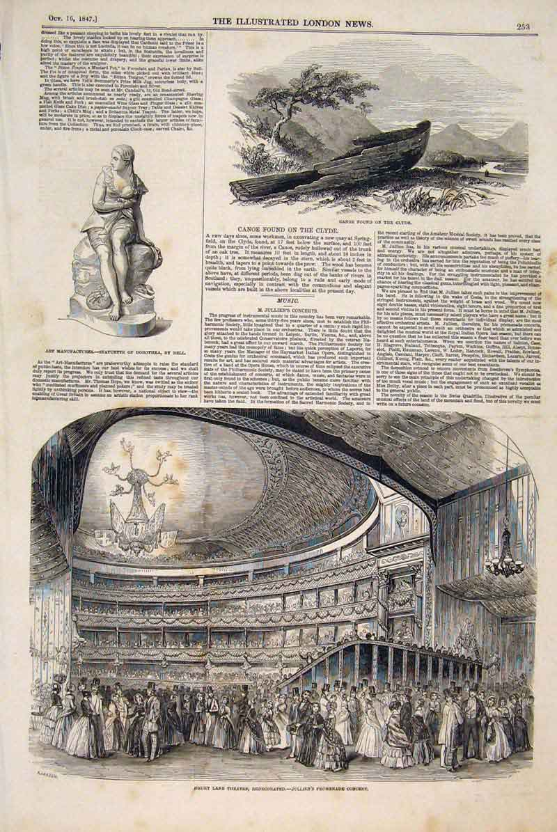 Print Canoe Clyde River Statuette Drury Lane Theatre 1847 53Maa1 Old Original