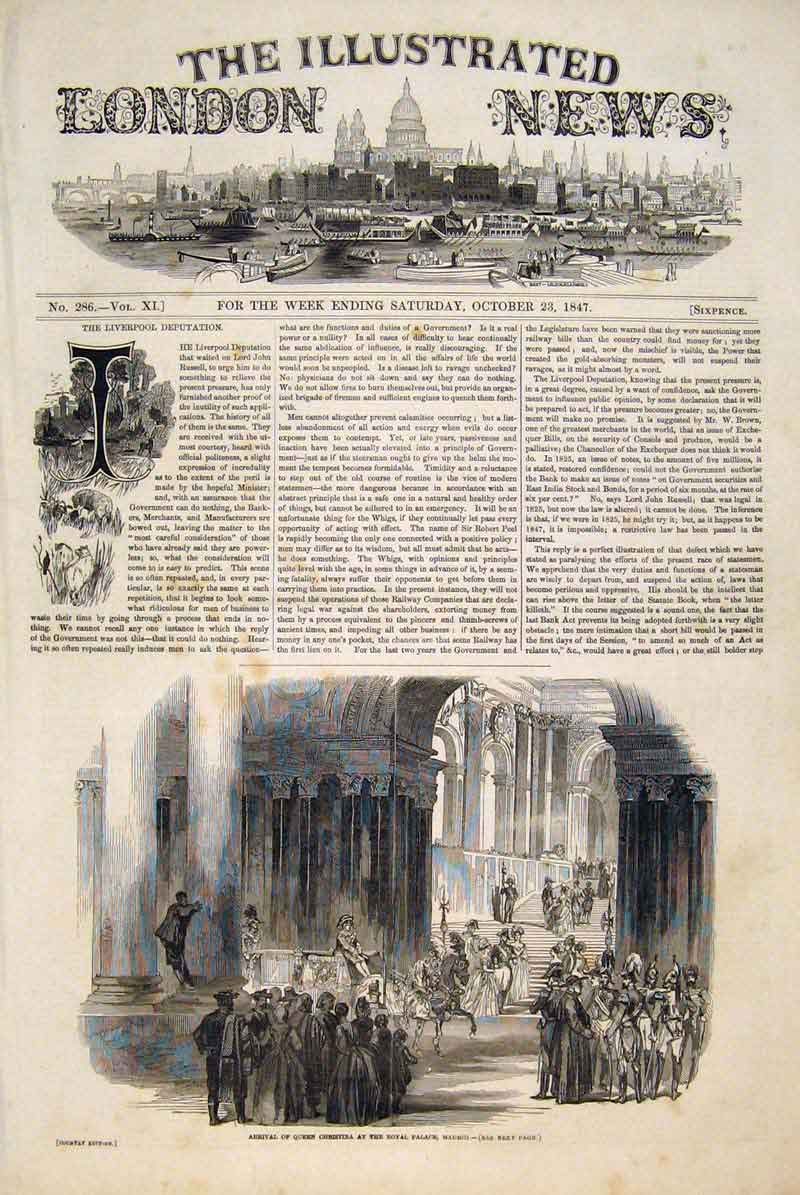Print Queen Christina Royal Palace Madrid Spain 1847 58Maa1 Old Original