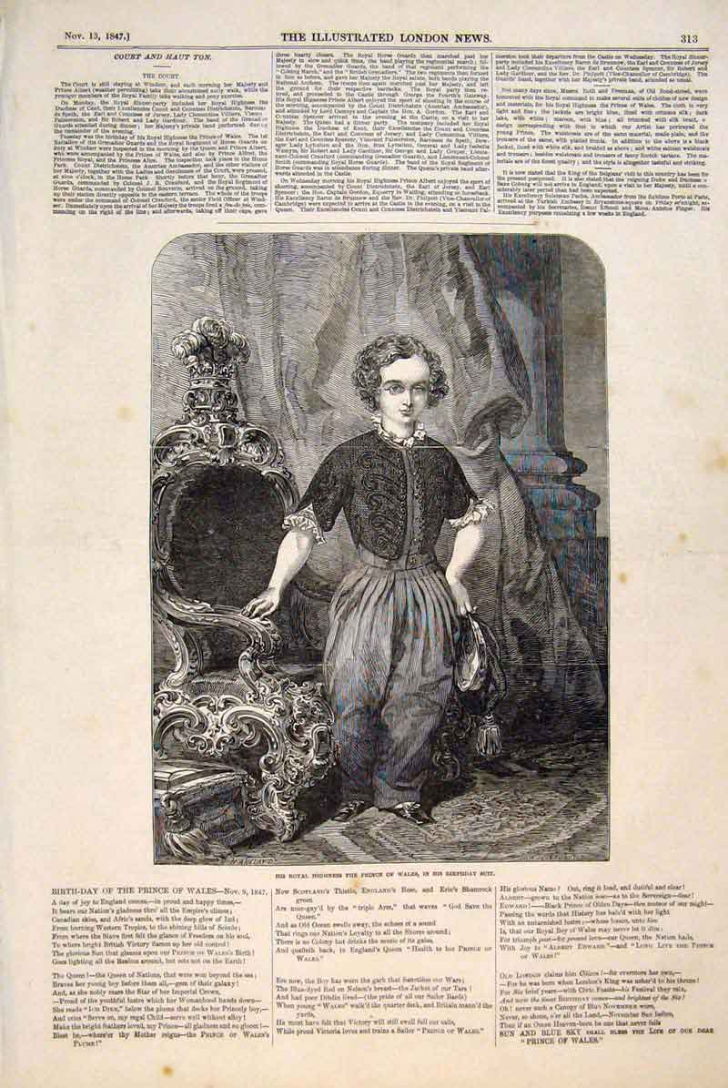 Print Portrait Prince Wales Birthday Suit Fine Art 1847 13Maa1 Old Original