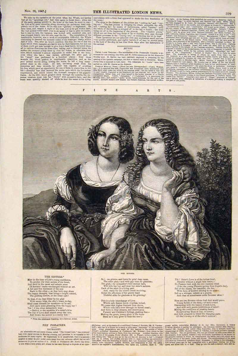 Print Sisters Ladies Portrait German Artist Fine Art 1847 Pri 29Maa1 Old Original