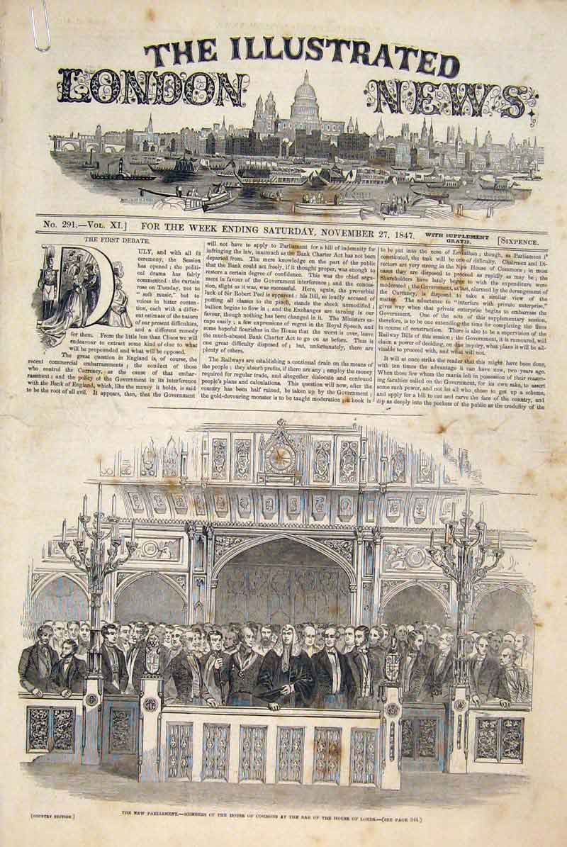 Print Parliament London House Commons Lords Debate 1847 38Amaa1 Old Original