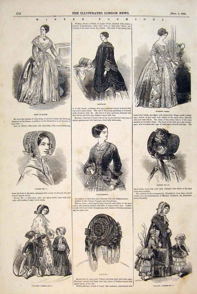 Print Winter Paris Fashions Dress Bonnet Robe Ladies 1847 72Maa1 Old Original