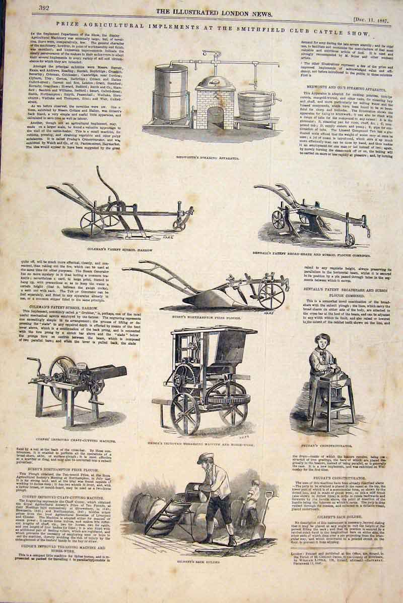 Print Agricultural Implements Smithfield Harrow Plough 1847 92Maa1 Old Original