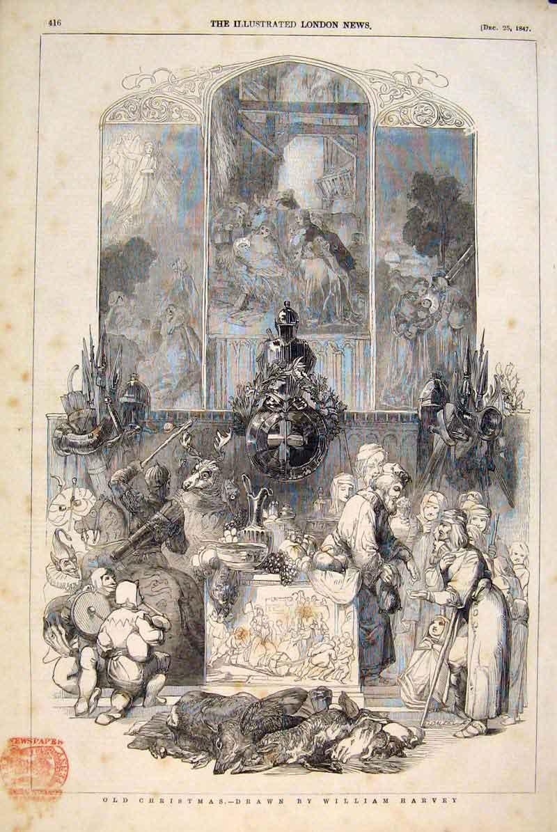 Print Christmas Harvey Poor Gifts Food Fine Art 1847 16Maa1 Old Original