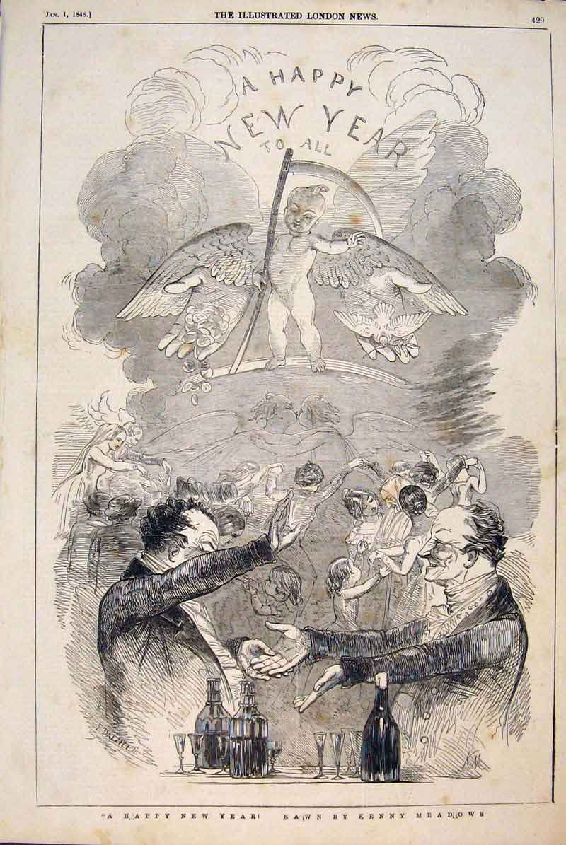 Print New Year Celebrations Sketches Meadows Party 1847 29Maa1 Old Original