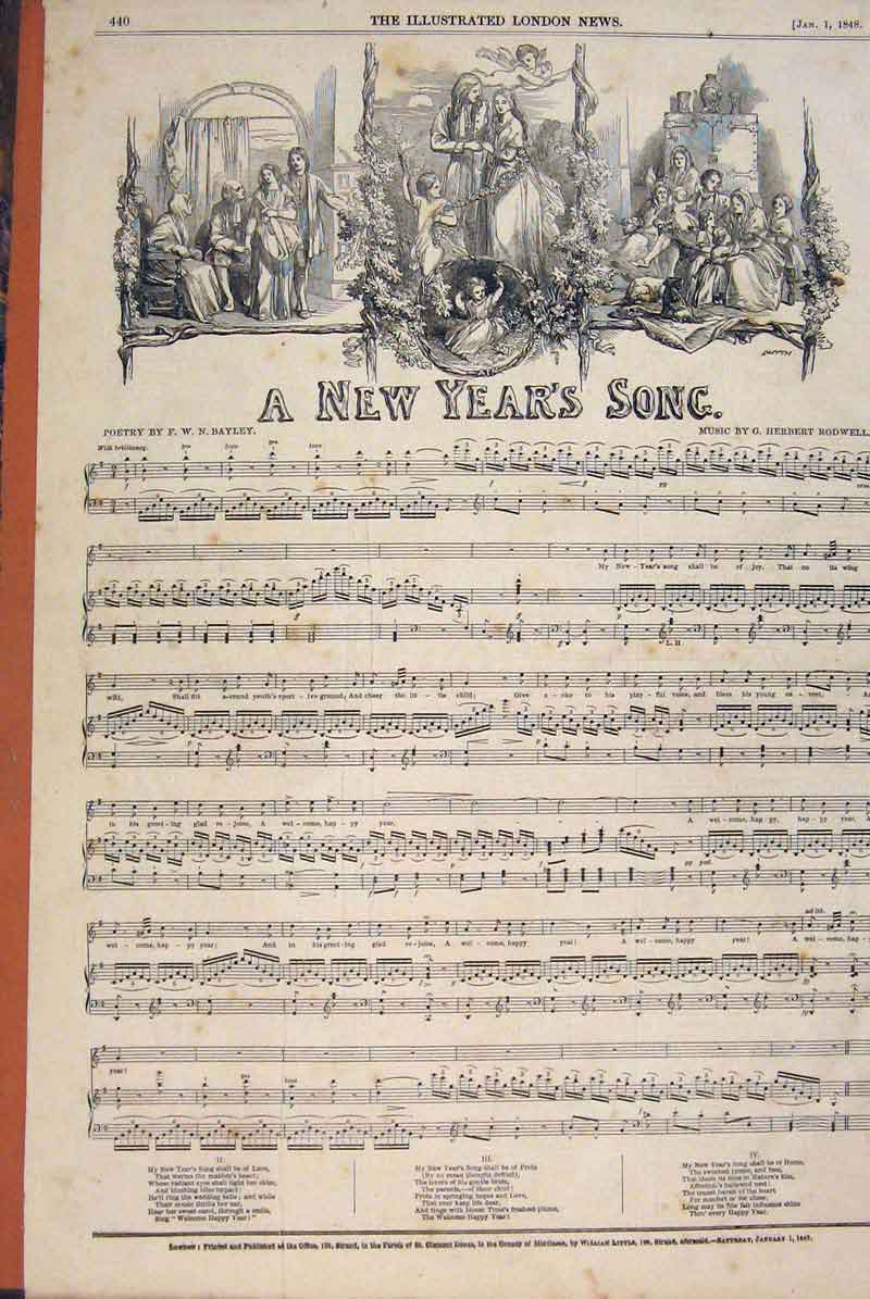 Print Poetry Song New Year Rodwell Music Score 1847 40Maa1 Old Original
