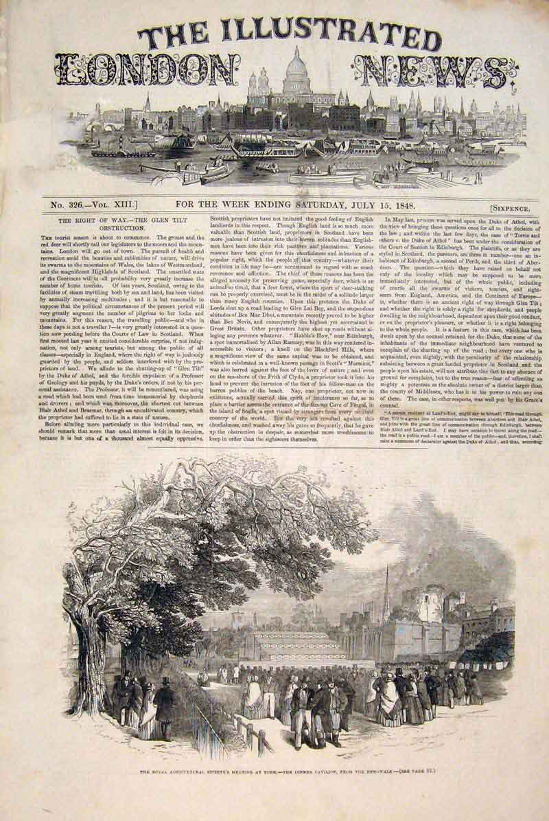 Print York Royal Agricultural Society Meeting 1848 18Maa1 Old Original