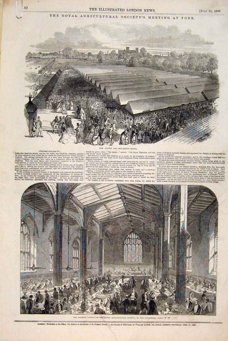 Print York Royal Agricultural Society Guildhall Cattle 1848 32Amaa1 Old Original