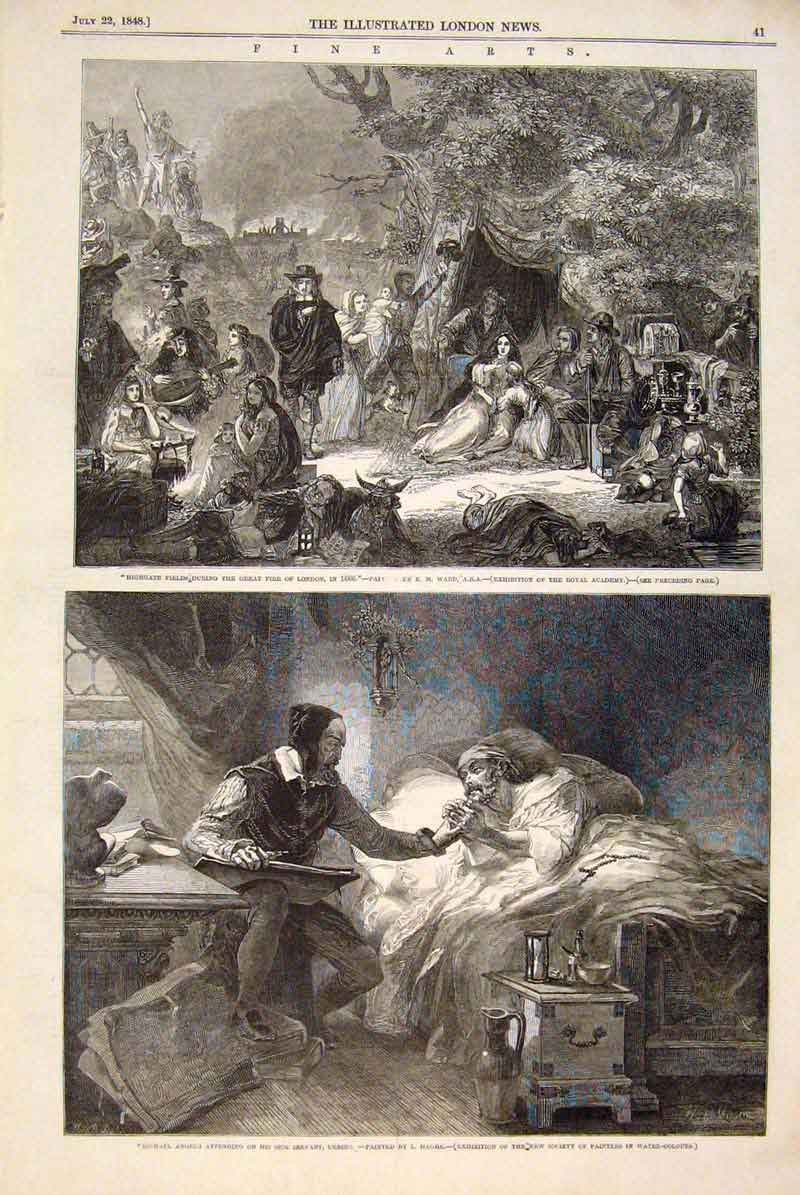 Print Highgate Fields Fire London Ward Haghe Michael Angelo 41Maa1 Old Original