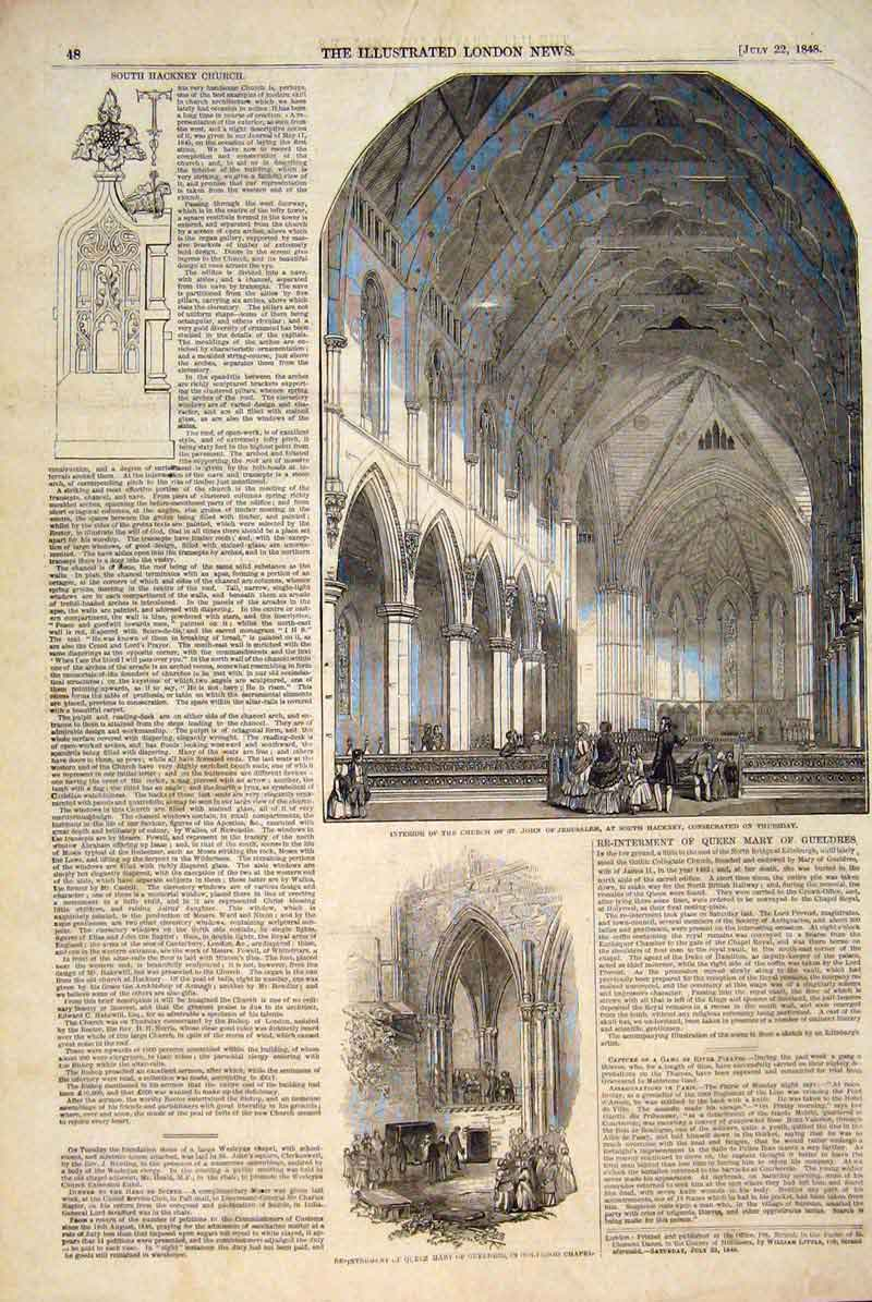 Print Church Hackney Holyrood Chapel Queen Mary Gueldres 1848 48Maa1 Old Original