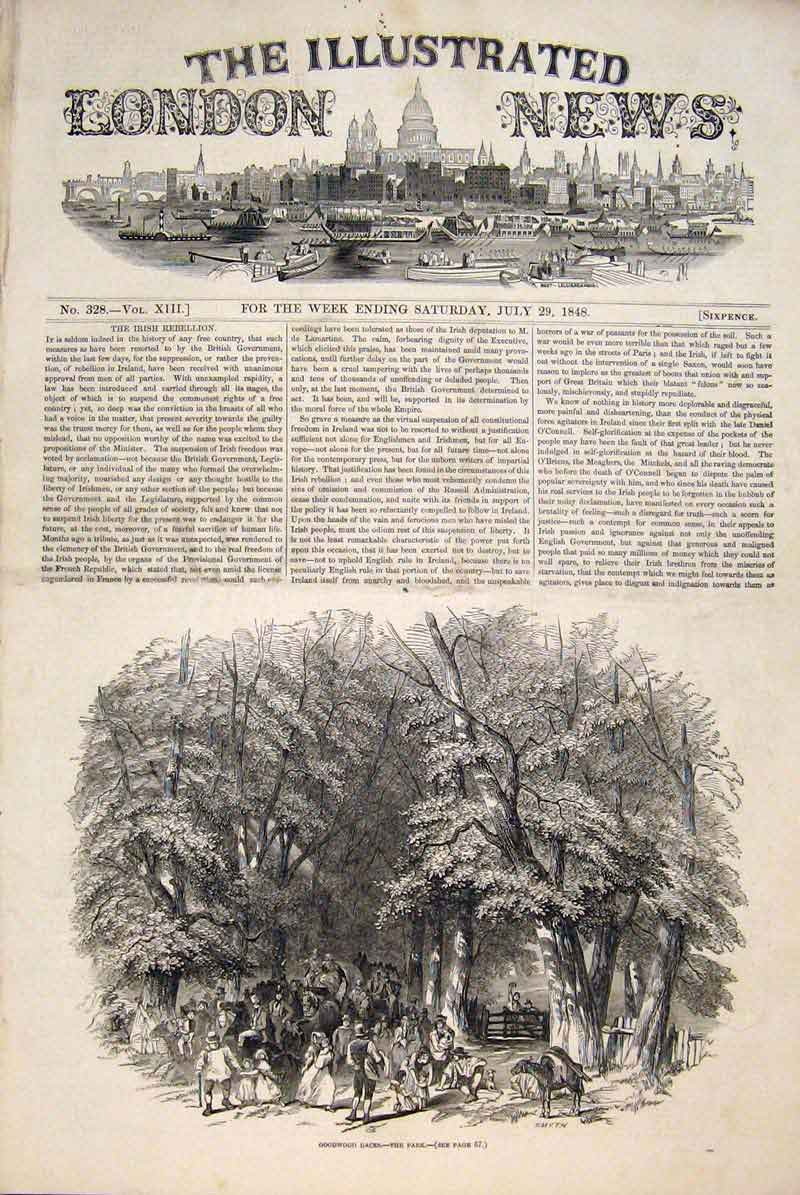 Print Goodwood Races Park Forest 1848 50Maa1 Old Original