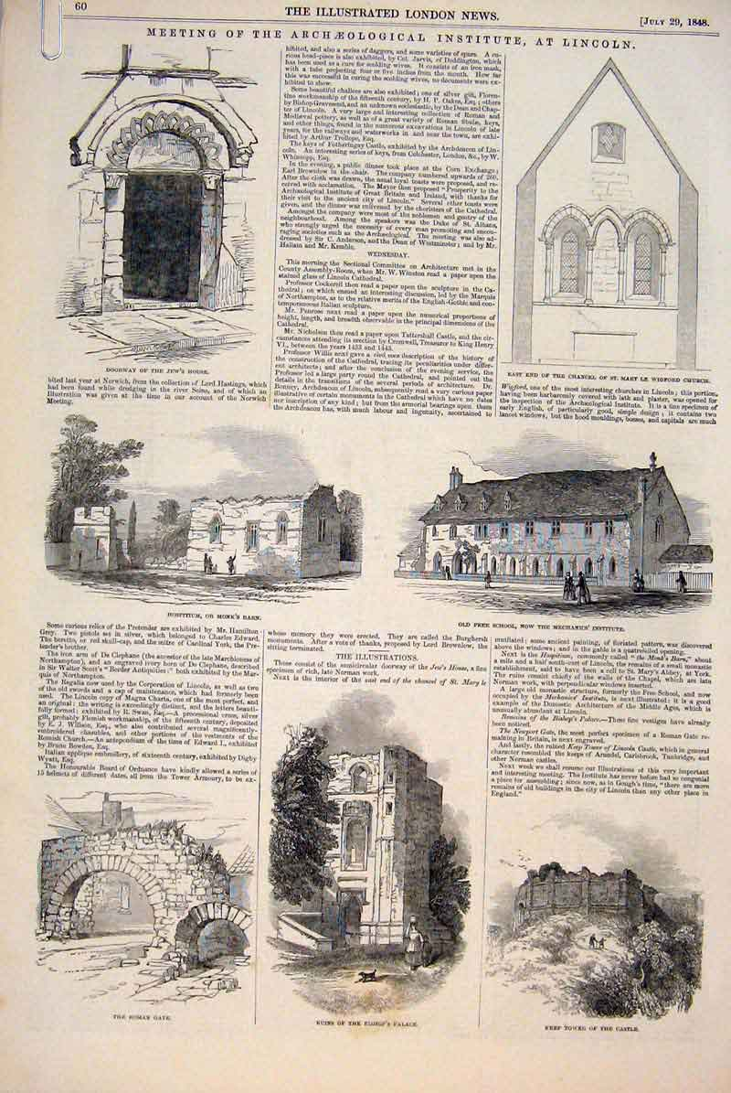 Print Lincoln Castle Church School Cathedral M'Cullagh 1848 60Amaa1 Old Original