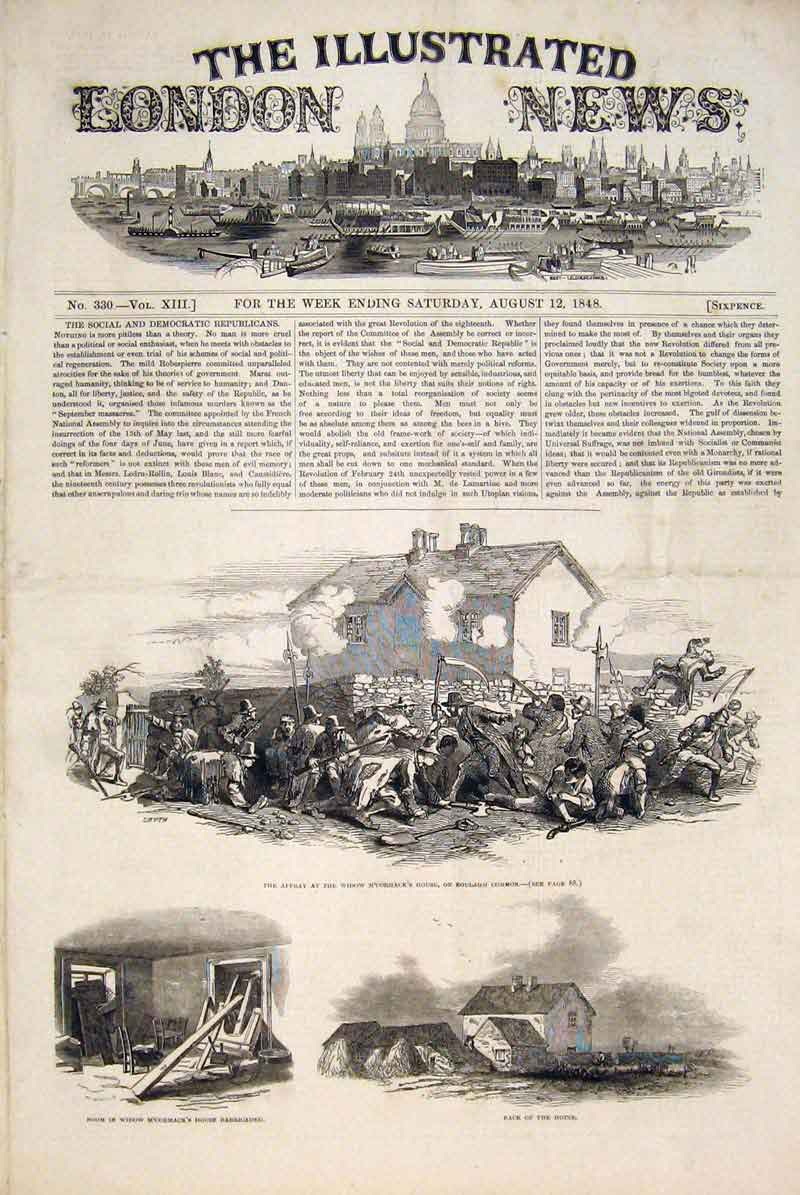 Print Boulagh Common M'Cormack Widow House Battle 1848 82Maa1 Old Original