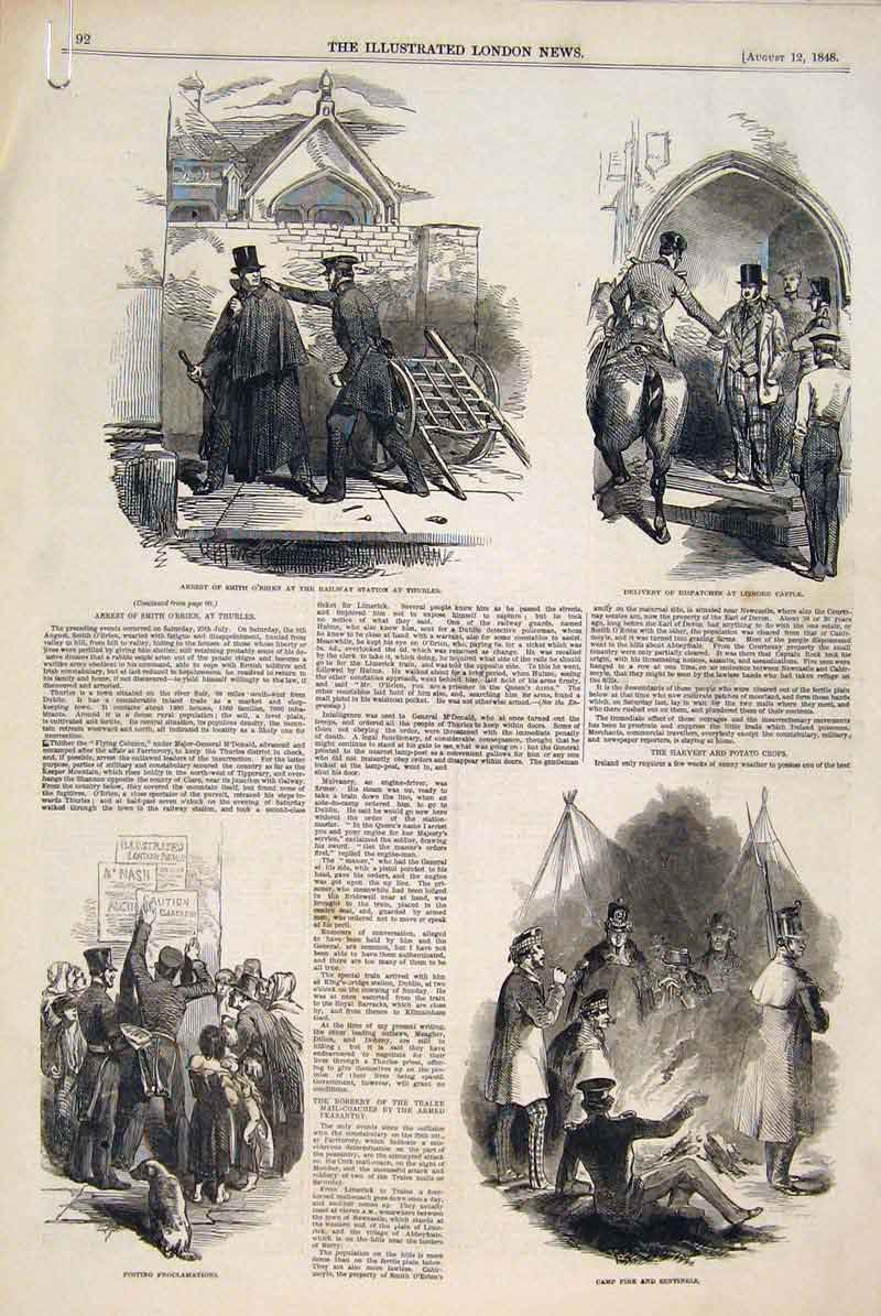 Print Lismore Castle Everton Liverpool Phoenix Ireland 1848 92Amaa1 Old Original