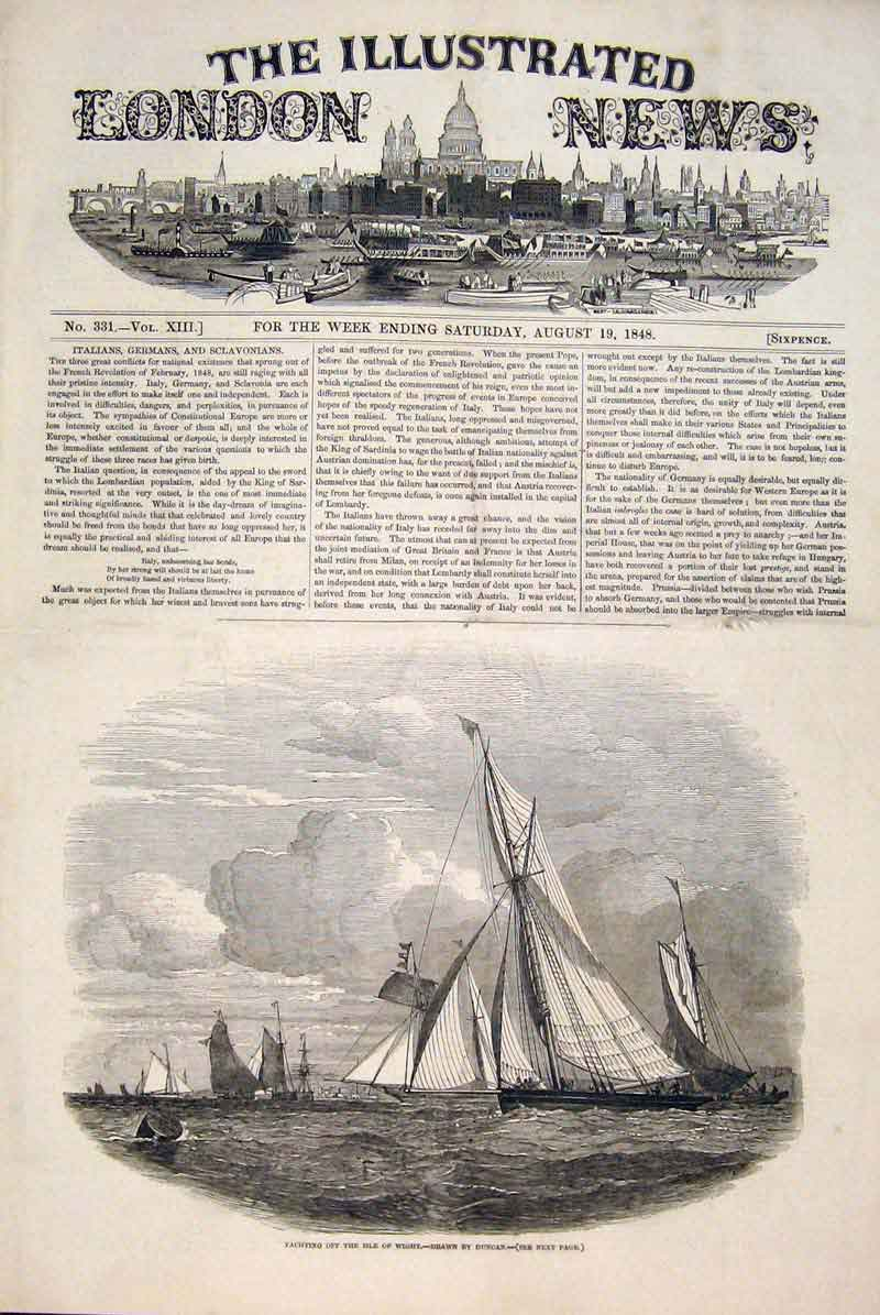Print Yacht Yachting Isle Wight Duncan Sailing Fine Art 1848 98Maa1 Old Original