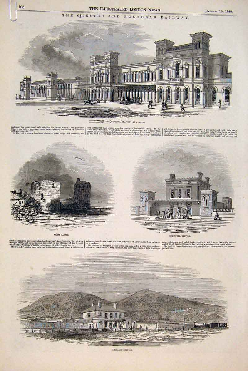 Print Chester Holyhead Railway Castle Station Conway Bangor 00Amaa1 Old Original