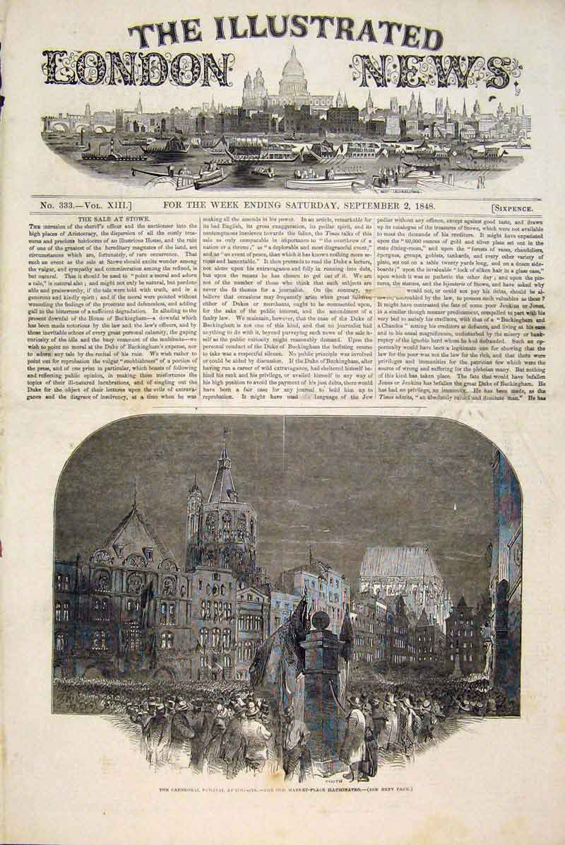 Print Cathedral Festival Cologne France Market Place 1848 30Maa1 Old Original