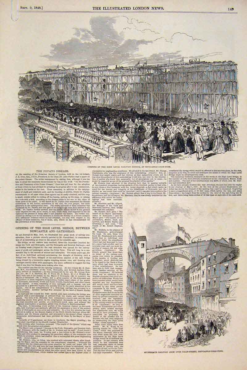 Print Railway Bridge Newcastle-Upon-Tyne Castle Newcastle 49Amaa1 Old Original
