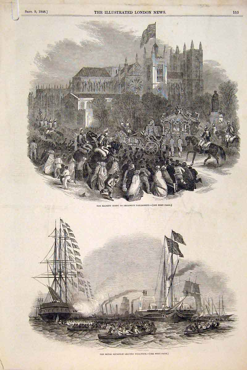 Print Squadron Woolwich Queen Prorogue Parliament Scotland 53Amaa1 Old Original