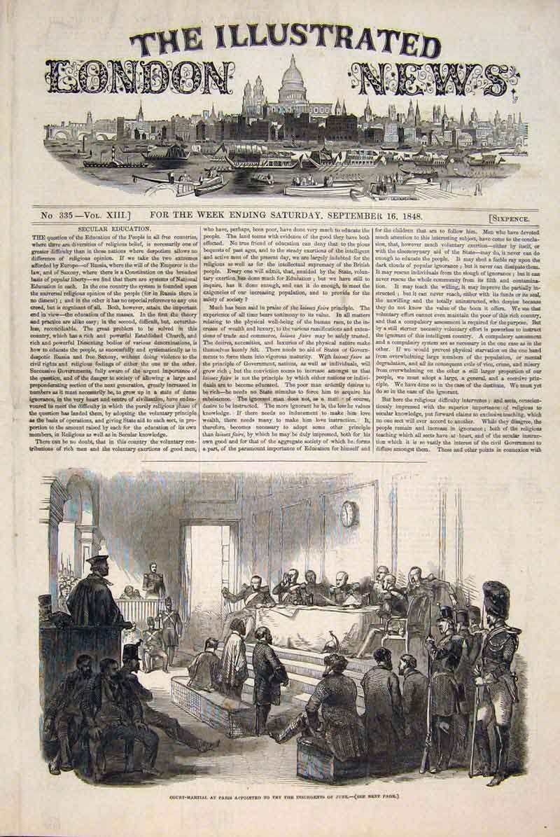 Print Court Martial Paris Insurgents June France 1848 62Maa1 Old Original