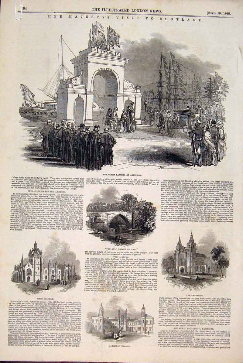 Print Scotland Aberdeen College Cathedral Balmoral 1848 64Amaa1 Old Original