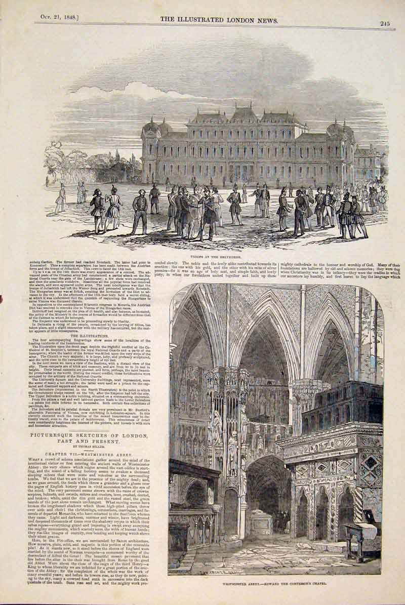 Print Troops Belvedere Westminster Abbey Chapel 1848 45Maa1 Old Original