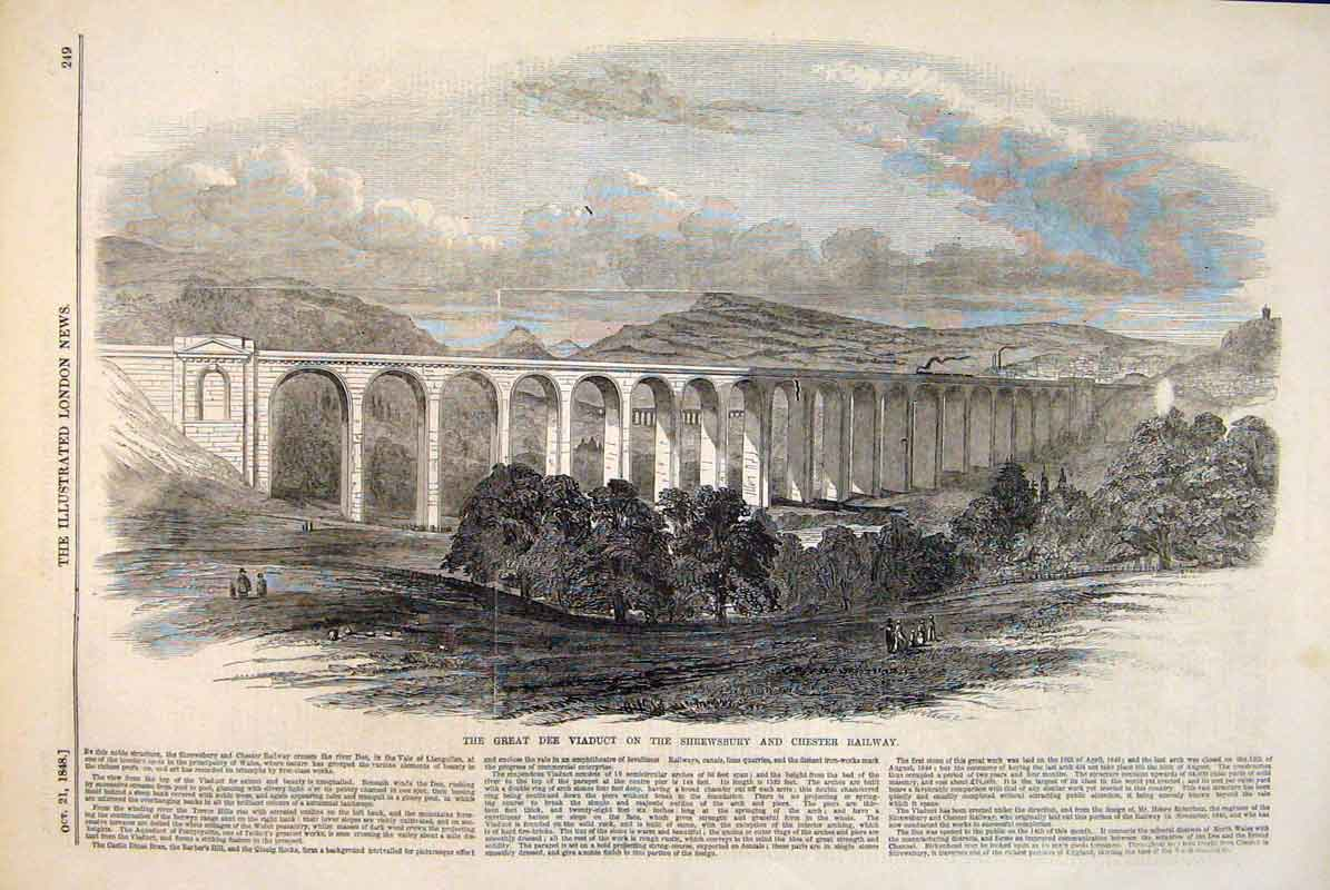 Print Dee Viaduct Shrewsbury Chester Railway River 1848 49Maa1 Old Original