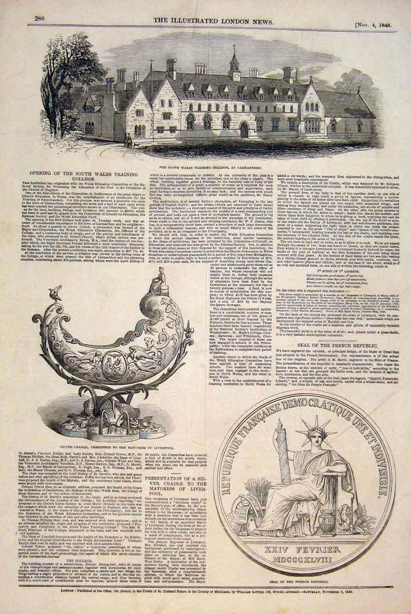 Print Carmarthen College Silver Cradle Liverpool Seal French 88Maa1 Old Original