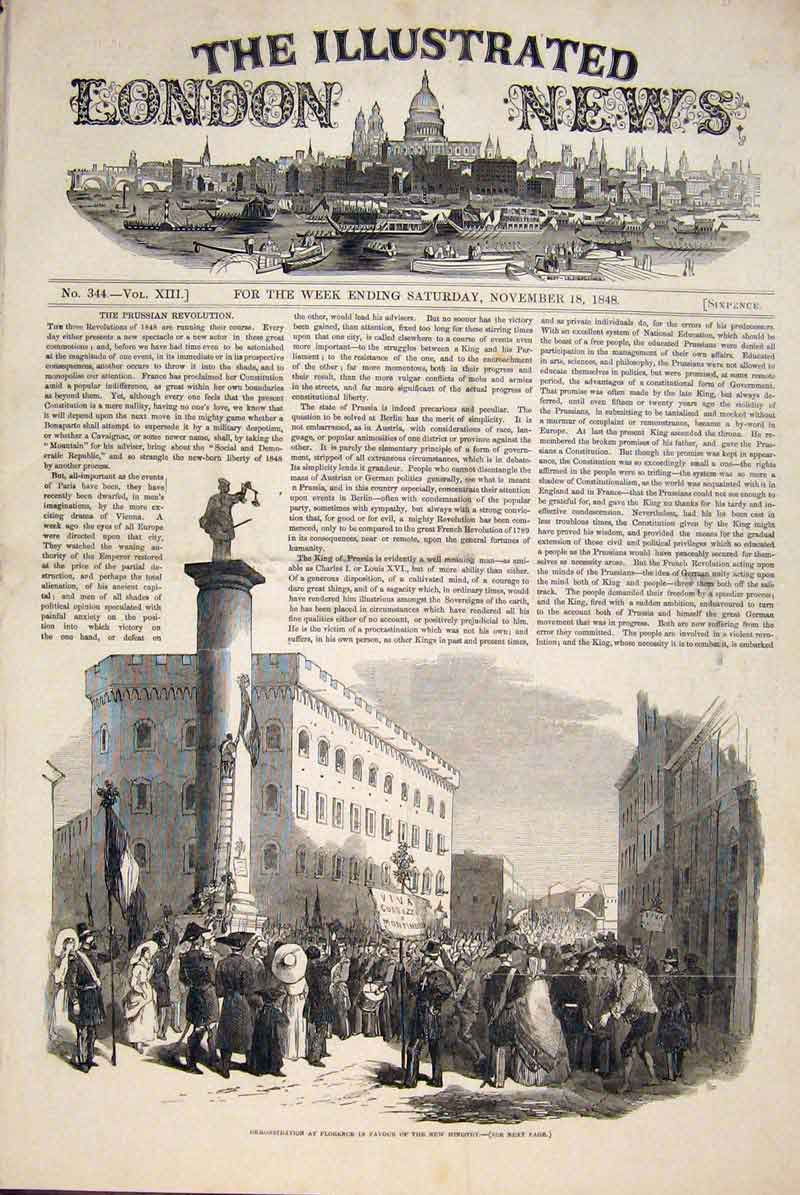 Print Florence Italy Ministry Demonstration 1848 06Maa1 Old Original