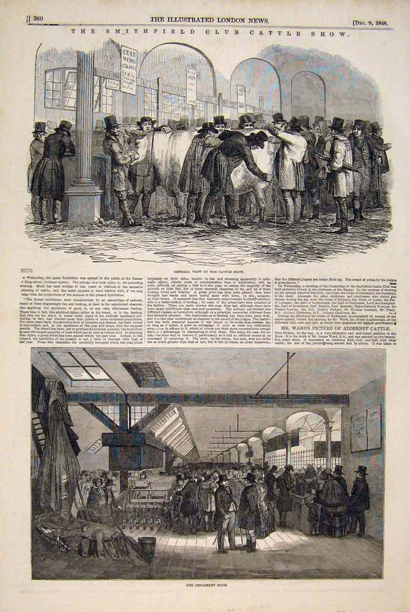 Print Smithfield Catlle Club Show Implement 1848 60Maa1 Old Original