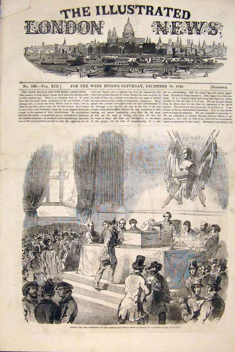 Print Election French President Vote Valentin 1848 70Maa1 Old Original