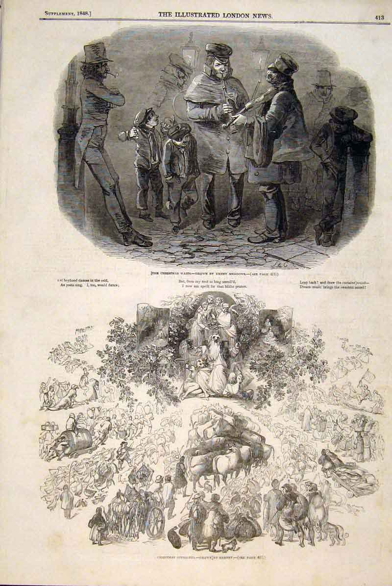 Print Christmas Waifs Meadows Harvey Sketches 1848 13Maa1 Old Original
