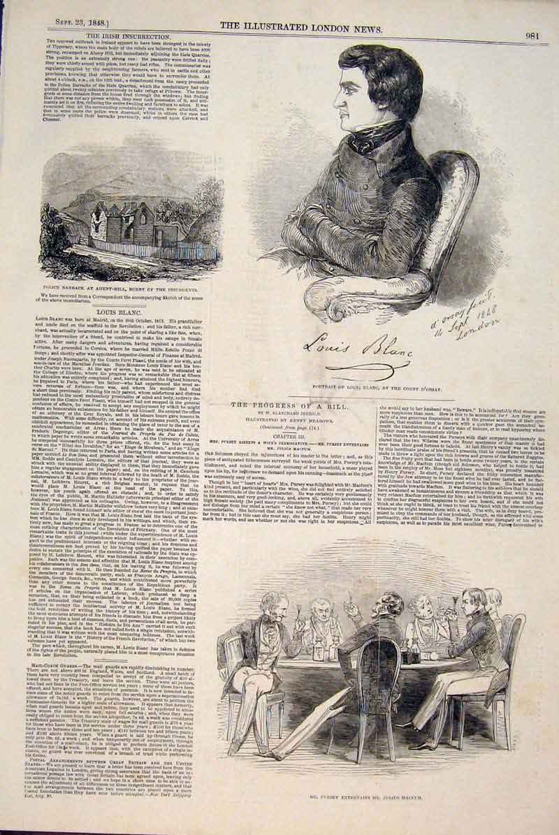 Print Portrait Blanc D'Orsay Irish Ireland Progress Bill 1848 81Maa1 Old Original