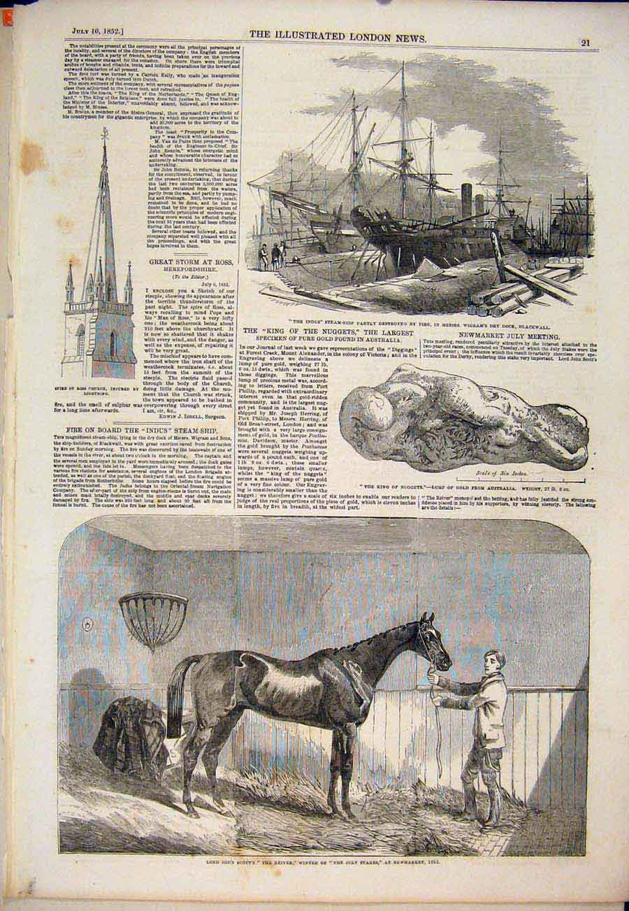 Print Indus Steam Ship Blackwall Reiver Race Horse Newmarket 21Maa1 Old Original