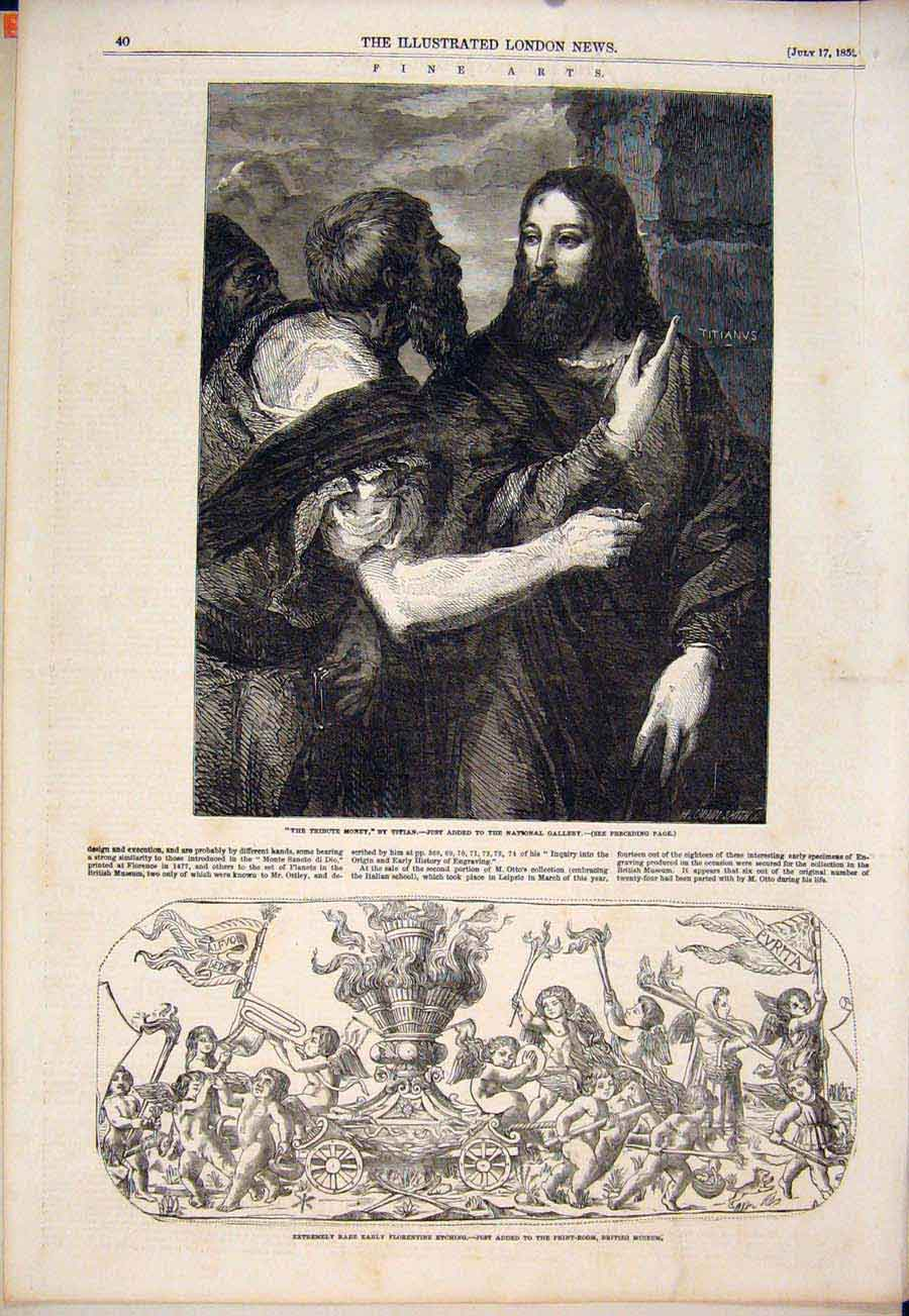 Print Tribute Money Titian Rare Florentine Etching 1852 40Maa1 Old Original