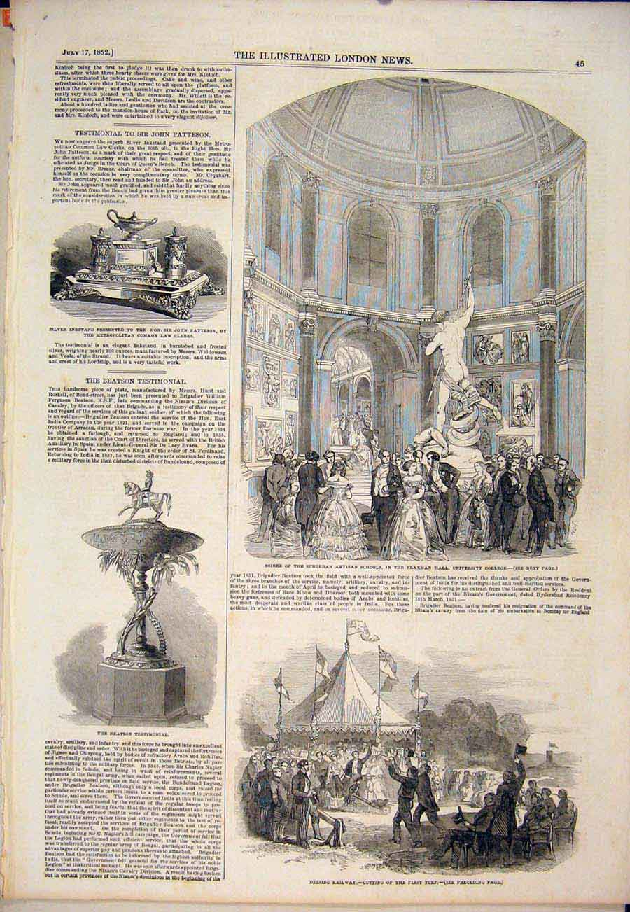 Print Flaxman Hall University Cooleg Deeside Railway 1852 45Maa1 Old Original