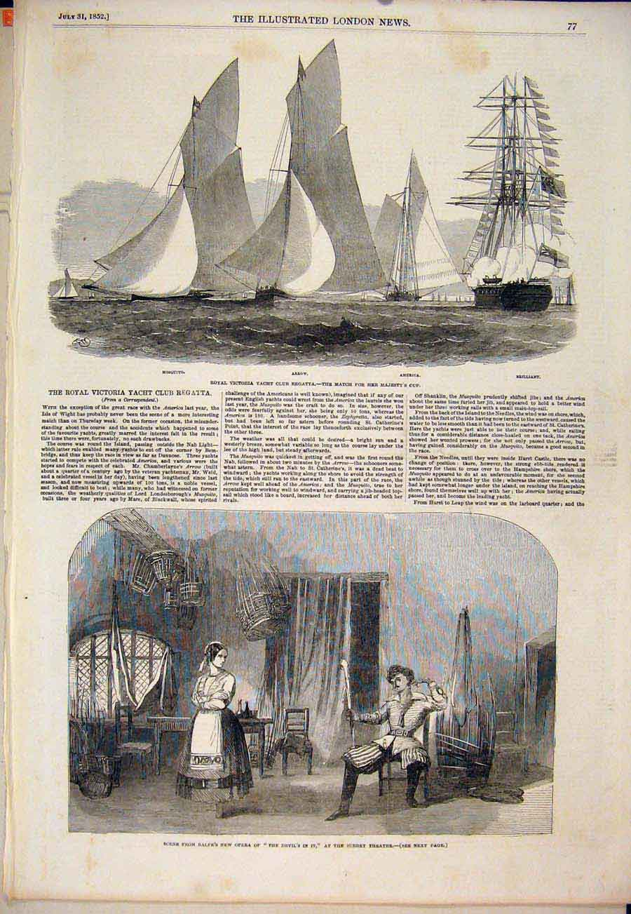 Print Royal Victoria Yacht Regatta Surrey Theatre 1852 77Maa1 Old Original